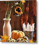 Sunflower And Gourds Still Life Metal Print by Amanda Elwell