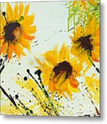Sunflowers - Abstract Painting Metal Print by Ismeta Gruenwald