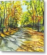 Sunrise On A Shady Autumn Lane Metal Print by Carol Wisniewski