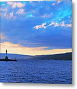 Sunrise On Cayuga Lake Ithaca New York Panoramic Photography Metal Print by Paul Ge