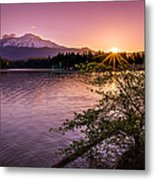 Sunrise Over Lake Siskiyou And Mt Shasta Metal Print by Scott McGuire