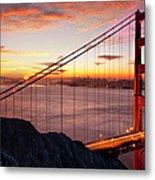 Sunrise Over The Golden Gate Bridge Metal Print by Brian Jannsen