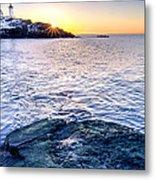 Sunrise Starburst Over Nubble Lighthouse  Metal Print by Thomas Schoeller