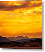 Sunset And Smoke Covered Mountains Metal Print by Rebecca Adams