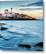 Sunset At Nubble Light-cape Neddick Maine Metal Print by Thomas Schoeller