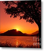 Sunset At The Lake Metal Print by Beverly Claire Kaiya