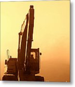 Sunset Excavator Metal Print by Olivier Le Queinec