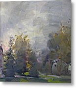 Sunset In A Foggy Fall Day Metal Print by Ylli Haruni