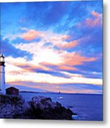 Sunset In Fork Williams Lighthouse Park Portland Maine State Metal Print by Paul Ge