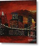 Sunset In New York Metal Print by Denisa Laura Doltu
