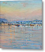 Sunset In Piermont Harbor Ny Metal Print by Ylli Haruni