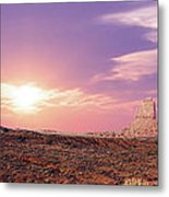 Sunset Over Mountain Valley Metal Print by Aged Pixel