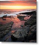 Sunset Over Rocky Coastline Metal Print by Johan Swanepoel