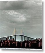 Sunshine Skyway Bridge Metal Print by Joseph G Holland