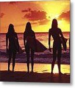 Surfer Girl Silhouettes Metal Print by Sean Davey