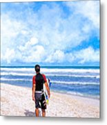 Surfer Hunting For Waves At Playa Del Carmen Metal Print by Mark E Tisdale