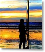 Surfer Sunset Metal Print by Douglas J Fisher