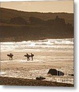 Surfers On Beach 02 Metal Print by Pixel Chimp