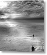 Surfing With The Dolphin Metal Print by Artist and Photographer Laura Wrede