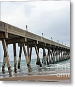 Surreal Blue Sky Ocean Coastal Fishing Pier Seagull North Carolina Atlantic Ocean Metal Print by Kathy Fornal