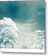Surreal Dreamy Infrared Teal Turquoise Aqua Nature Tree Lanscape Metal Print by Kathy Fornal