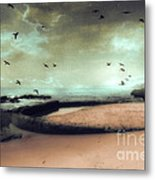 Surreal Dreamy Ocean Beach Birds Sky Nature Metal Print by Kathy Fornal