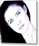 Susan Ward Blue Eyed Beauty With A Mole II Metal Print by Jim Fitzpatrick