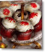 Sweet - Cupcake - Red Velvet Cupcakes  Metal Print by Mike Savad