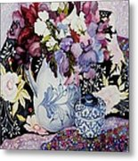 Sweet Peas In A Blue And White Jug With Blue And White Pot And Textiles  Metal Print by Joan Thewsey