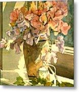 Sweetpea On The Windowsill Metal Print by Julia Rowntree