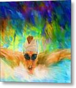 Swimming Fast Metal Print by Lourry Legarde