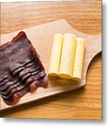 Swiss Food - Dried Meat And Cheese Metal Print by Matthias Hauser