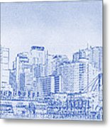 Sydney's Cockle Bay Blueprint Metal Print by Kaleidoscopik Photography