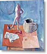 Tabletop With Figurine Metal Print by Mark Lunde
