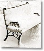 Take A Seat  And Chill Out - Park Bench - Winter - Snow Storm Bw Metal Print by Andee Design