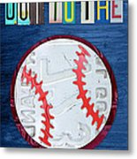 Take Me Out To The Ballgame License Plate Art Lettering Vintage Recycled Sign Metal Print by Design Turnpike