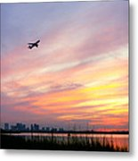Take Off At Sunset In 1984 Metal Print by Michelle Wiarda