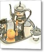 Tea Service With Orange Dramatic Metal Print by Kip DeVore