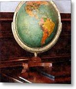 Teacher - Globe On Piano Metal Print by Susan Savad