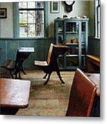Teacher - One Room Schoolhouse With Clock Metal Print by Susan Savad