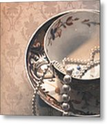 Teacup And Pearls Metal Print by Jan Bickerton