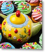 Teapot And Cupcakes  Metal Print by Garry Gay