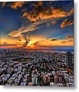 Tel Aviv Sunset Time Metal Print by Ron Shoshani