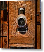 Telephone - Antique Wall Telephone Metal Print by Lee Dos Santos