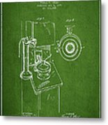 Telephone Patent Drawing From 1898 - Green Metal Print by Aged Pixel
