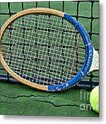 Tennis - Vintage Tennis Racquet Metal Print by Paul Ward