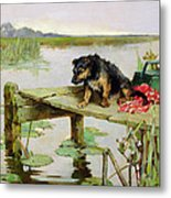 Terrier - Fishing Metal Print by Philip Eustace Stretton