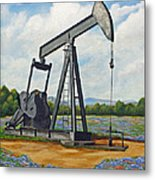 Texas Oil Well Metal Print by Jimmie Bartlett
