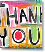 Thank You Card- Watercolor Greeting Card Metal Print by Linda Woods