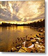 The Androscoggin River Between Lewiston And Auburn Metal Print by Bob Orsillo